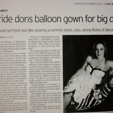 Bride dons balloon gown for big day